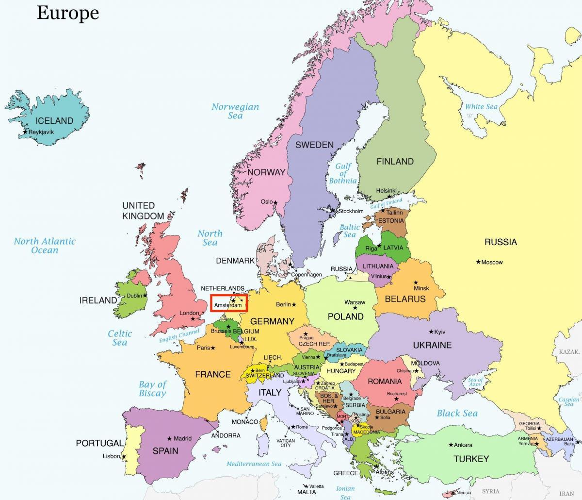 Carte Europe Pays Bas.Carte D Amsterdam Europe Amsterdam Sur La Carte De L Europe Pays Bas